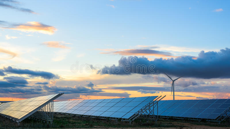 Photovoltaic and wind farms in the province of Albacete I. Photovoltaic and wind farms in the province of Albacete stock images