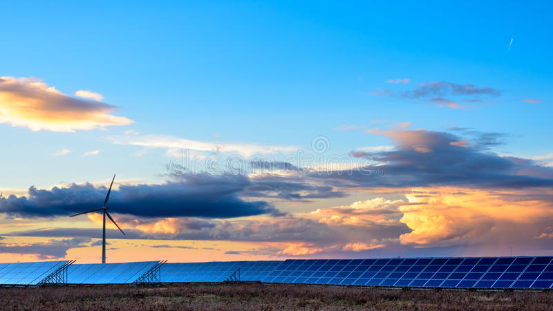 Photovoltaic and wind farms in the province of Albacete III. Photovoltaic and wind farms in the province of Albacete royalty free stock photos