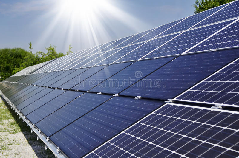 Photovoltaic zonne stock afbeelding