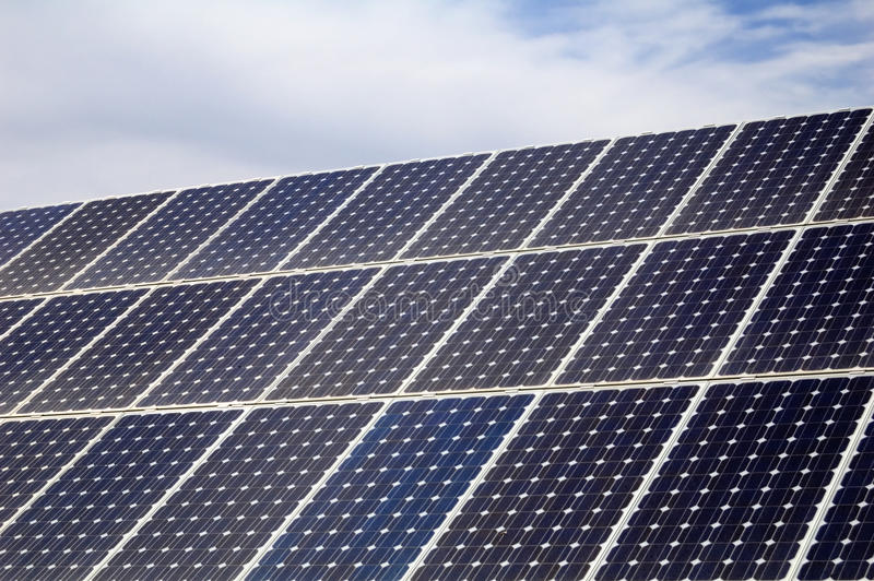 Photovoltaic, zonnepaneel - Vernieuwbare energie stock foto