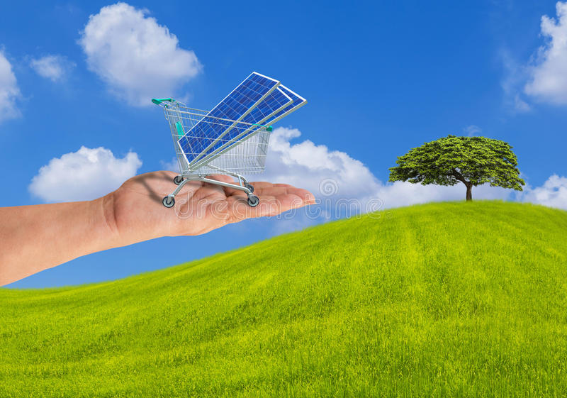 Photovoltaics solar panels in shopping trolley cart on hand with the tree on grass hill. Photovoltaics solar panels in shopping trolley cart on women hand with stock image