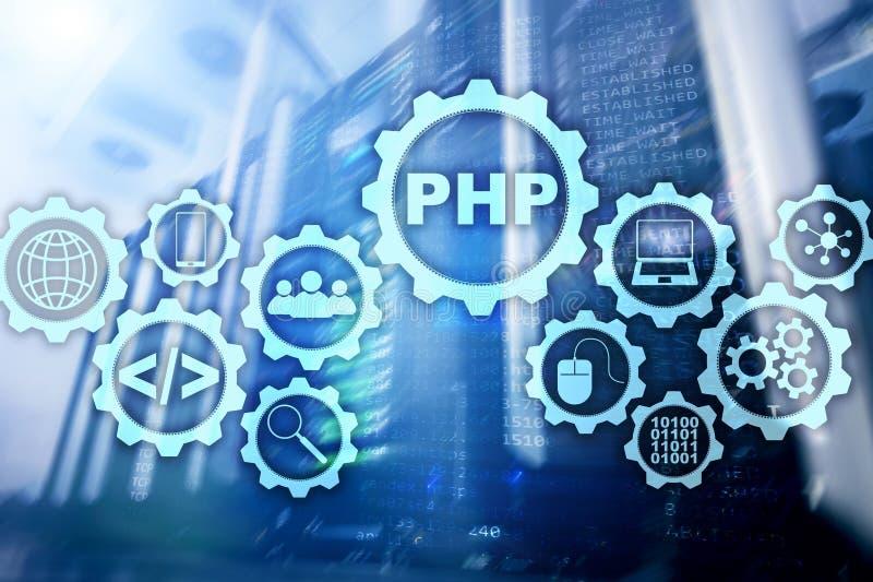 PHP编程语言 开发的编程和编码技术 网络空间概念 免版税库存图片