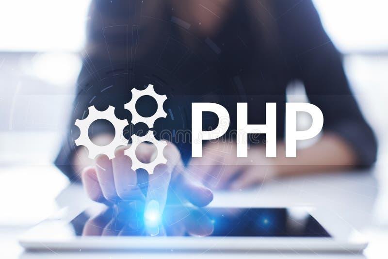 PHP,网在虚屏上的发展概念 向量例证