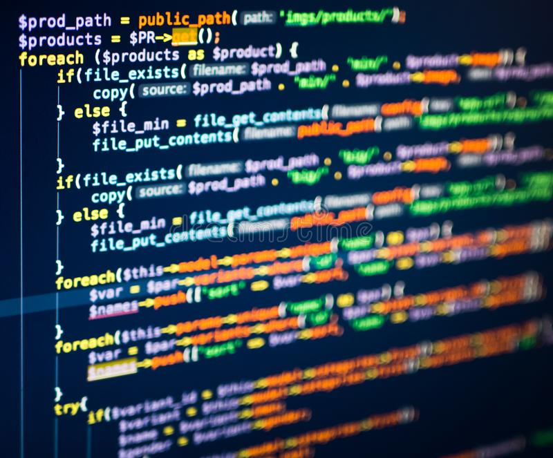 PHP code on the screen, extreme close up royalty free stock photos