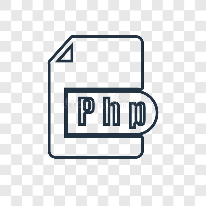 Php concept vector linear icon isolated on transparent background, Php concept transparency logo in outline style. Php concept vector linear icon isolated on vector illustration