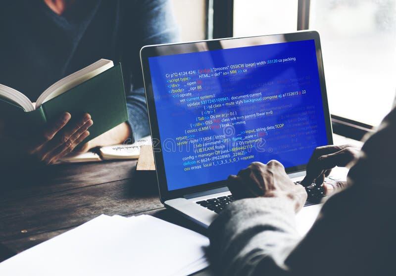 Php die HTML-Codagecyberspace Concept programmeren royalty-vrije stock afbeeldingen