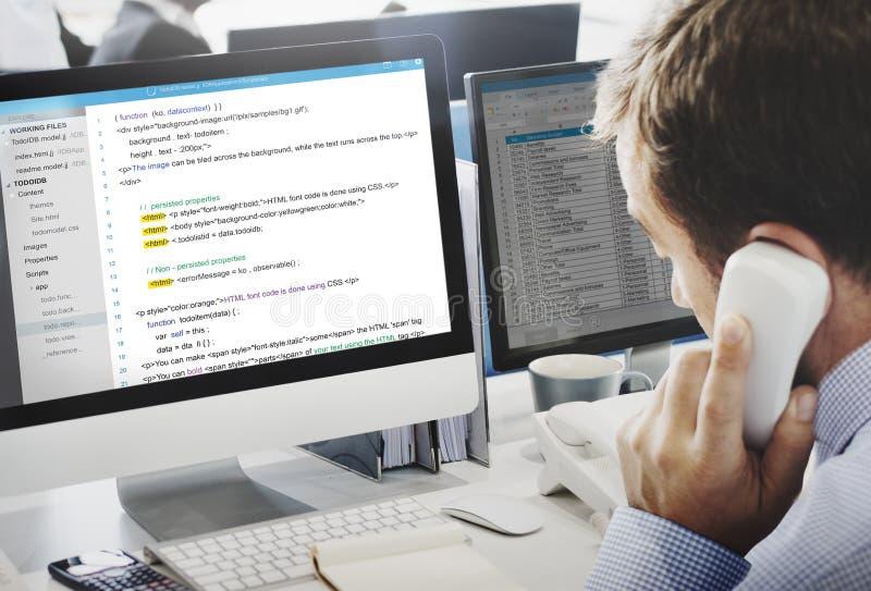 Php die HTML-Codagecyberspace Concept programmeren stock fotografie