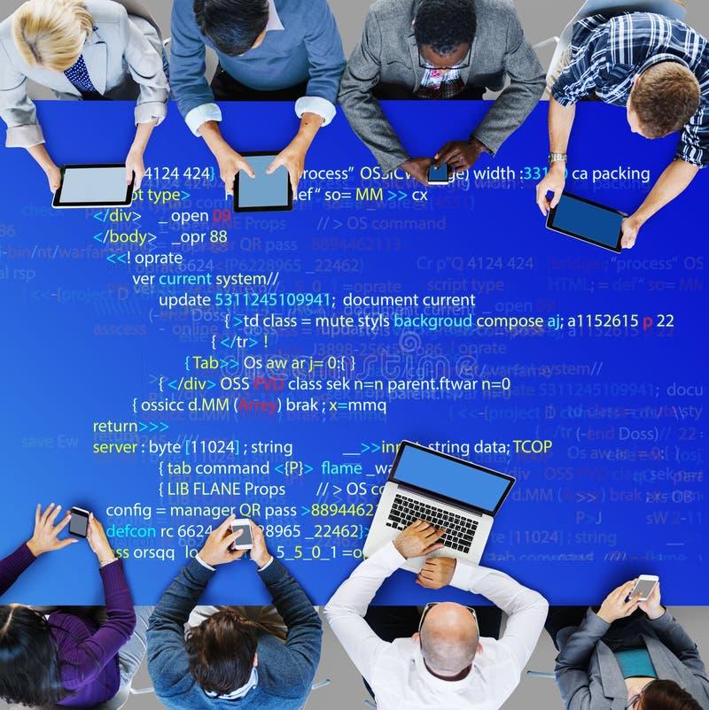 Php die HTML-Codagecyberspace Concept programmeren stock afbeelding