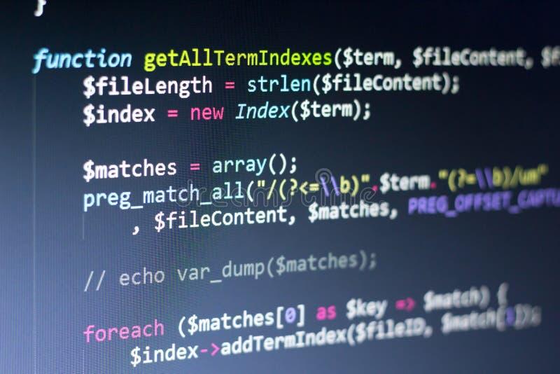 PHP dodatkowy procesor kod Komputerowego programowania źródła kod Abstrakta ekran sieć przedsiębiorca budowlany Technologii cyfro fotografia royalty free