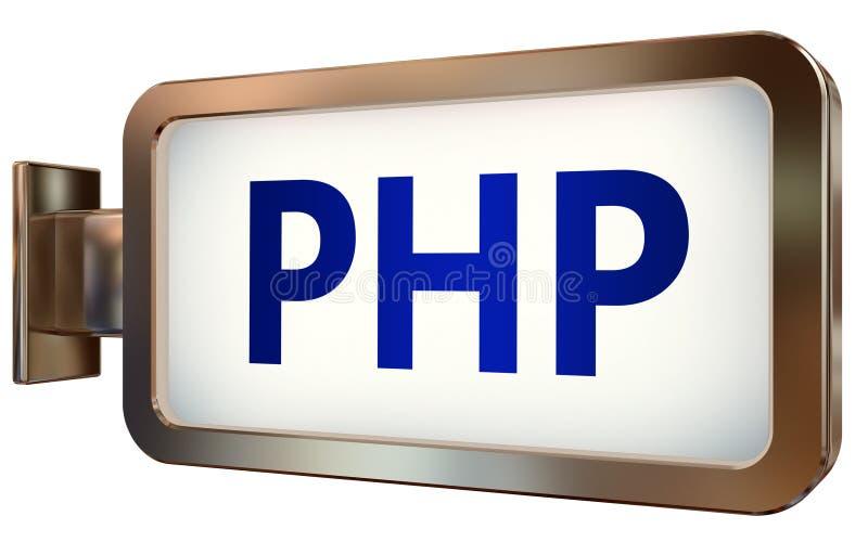 PHP en fondo de la cartelera ilustración del vector