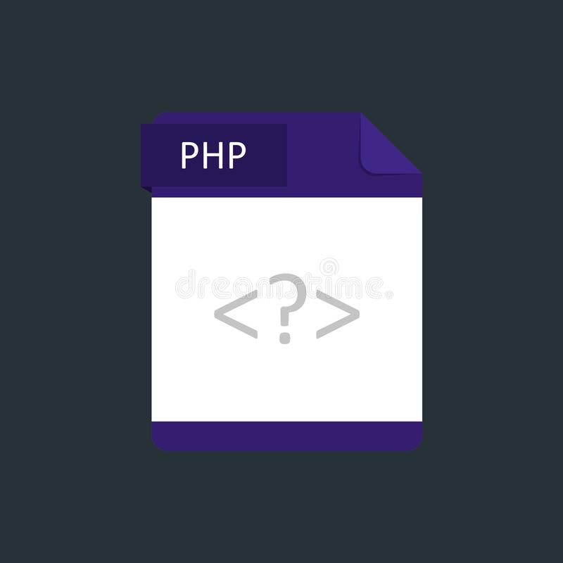 PHP file type icon. Vector illustration isolated on a dark blue background.  stock illustration