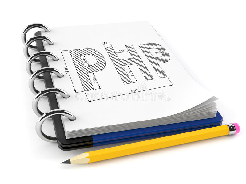 Php-plan på notepaden stock illustrationer