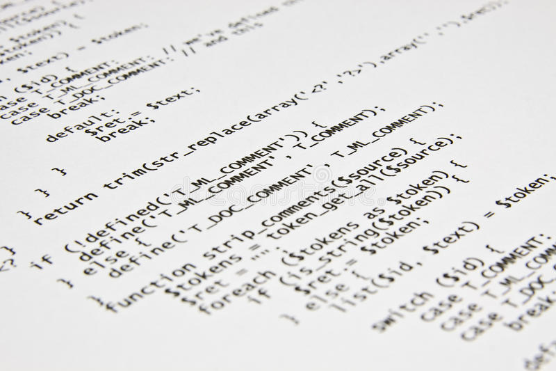 Php programming code print.  royalty free stock photos