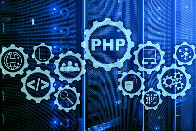 PHP programming language. Developing programming and coding technologies.Cyber space concept. stock image