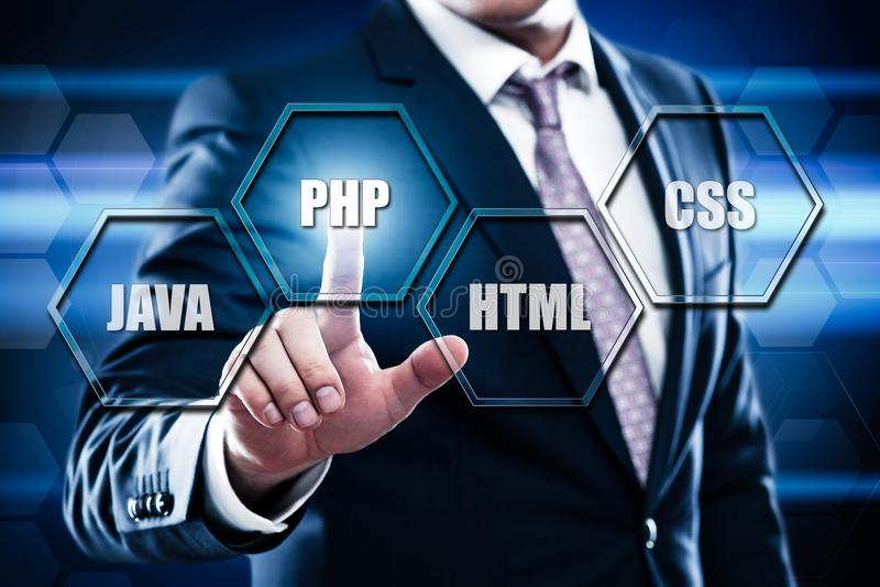 PHP som programmerar språkrengöringsdukutveckling som kodifierar begrepp royaltyfria foton