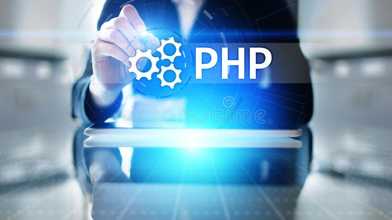 PHP Web development and coding internet and technology concept on virtual screen. stock photo
