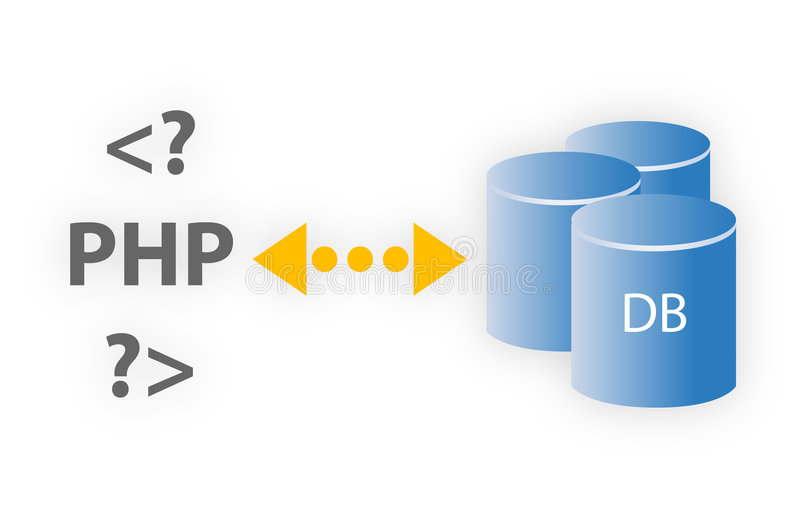PHP y base de datos stock de ilustración
