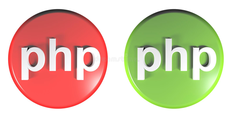 PHP zieleń i czerwień okrążamy pchnięcie guziki - 3D renderingu ilustracja ilustracja wektor