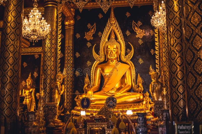 Phra Buddha Chinnarat in chapel of Wat Phra Sri Rattana Mahathat Temple most beautiful golden buddha statue in Thailand. Phitsanul royalty free stock images