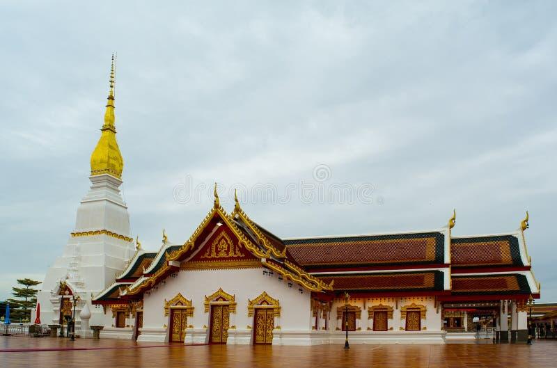 Phra That Choeng Chum temple Sakon Nakhon province Thailand. Phra That Choeng Chum pagoda and sanctuary in Phra That Choeng Chum temple,There are blue skies and stock image