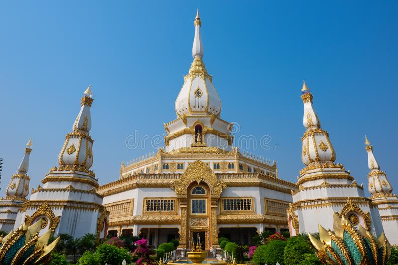 Phra Maha Chedi Chai Mongkol, Beautiful pagoda, Landmark at Roi Et Province, northeastern Thailand stock photos