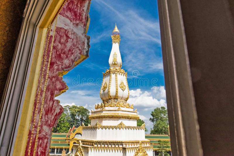 The Phra Maha Chedi Chai Mongkol or The Great, pagoda is enshrining the relic of the Lord Buddha in Roi Et province. The Phra Maha Chedi Chai Mongkol in Roi Et royalty free stock photos