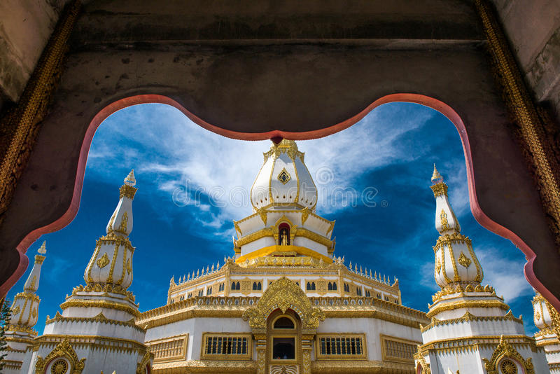 The Phra Maha Chedi Chai Mongkol or The Great, pagoda is enshrining the relic of the Lord Buddha in Roi Et province. The Phra Maha Chedi Chai Mongkol in Roi Et royalty free stock images