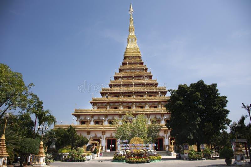 Phra Mahathat Kaen Nakhon pagoda w Wata Nong Waeng świątyni dla tajlandzkich ludzi i podróżnicy odwiedzamy i my modlimy się przy  obrazy stock