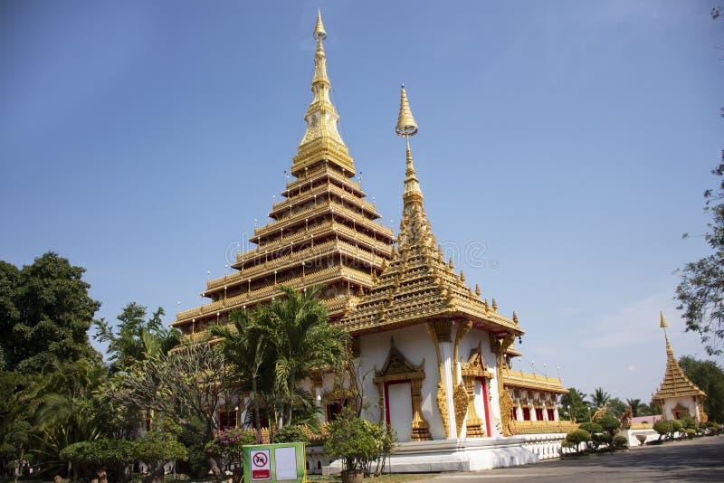 Phra Mahathat Kaen Nakhon pagoda in Wat Nong Waeng temple for thai people and travelers visit and pray at Khon kaen, Thailand. Phra Mahathat Kaen Nakhon pagoda stock photos