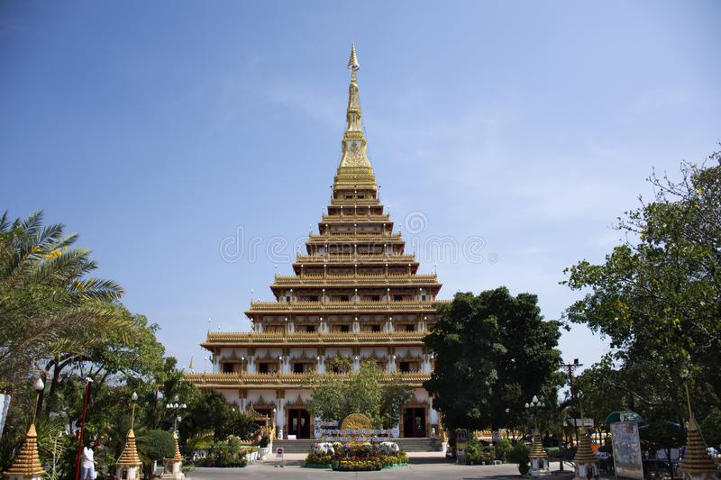 Phra Mahathat Kaen Nakhon pagoda in Wat Nong Waeng temple for thai people and travelers visit and pray at Khon kaen, Thailand. Phra Mahathat Kaen Nakhon pagoda royalty free stock image