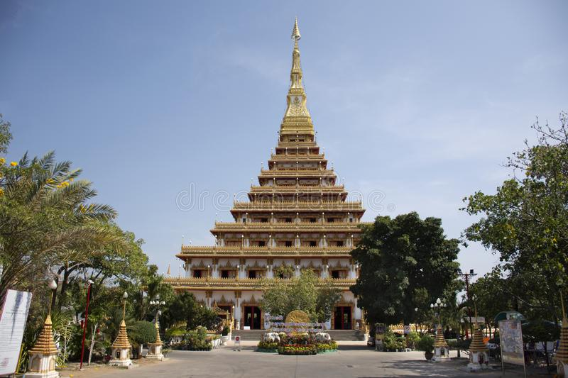 Phra Mahathat Kaen Nakhon pagoda in Wat Nong Waeng temple for thai people and travelers visit and pray at Khon kaen, Thailand. Phra Mahathat Kaen Nakhon pagoda stock images