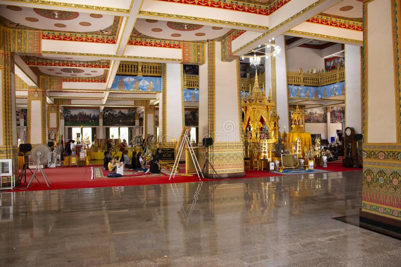 Phra Mahathat Kaen Nakhon pagoda in Wat Nong Waeng temple for thai people and travelers visit and pray at Khon kaen, Thailand. Phra Mahathat Kaen Nakhon pagoda stock photos
