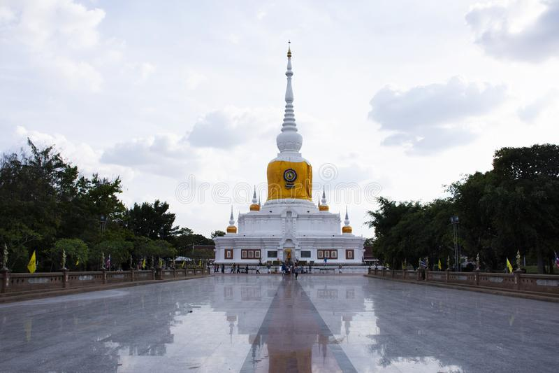 Phra That Nadoon Chedi or Na Dun Pagoda for thai people travel respect praying at Mahasarakham city in Maha Sarakham, Thailand royalty free stock photography