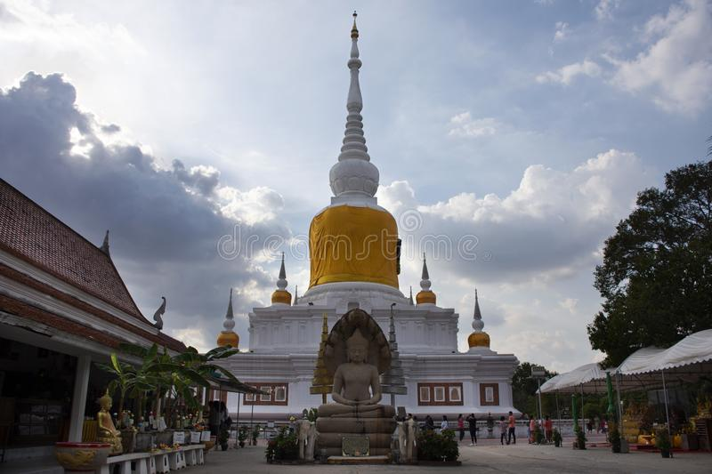Phra That Nadoon Chedi or Na Dun Pagoda for thai people travel respect praying at Mahasarakham city in Maha Sarakham, Thailand. Phra That Nadoon Chedi or Na Dun stock images