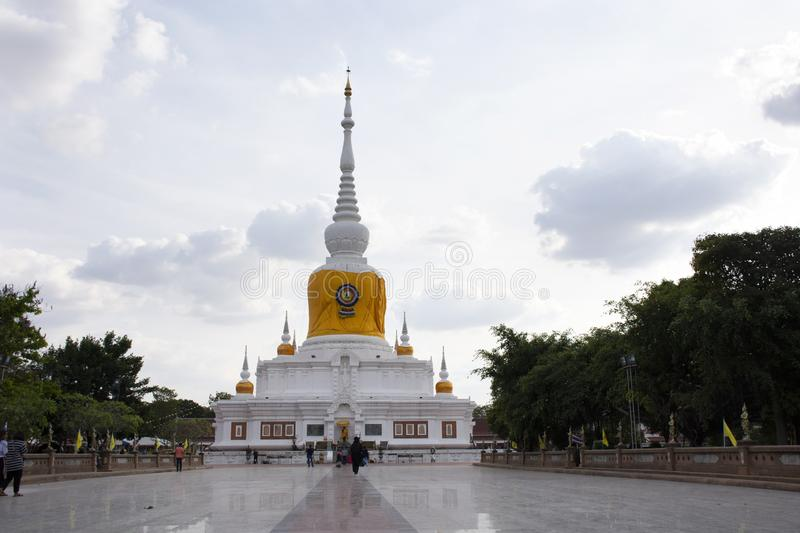 Phra That Nadoon Chedi or Na Dun Pagoda for thai people travel respect praying at Mahasarakham city in Maha Sarakham, Thailand. Phra That Nadoon Chedi or Na Dun stock photography