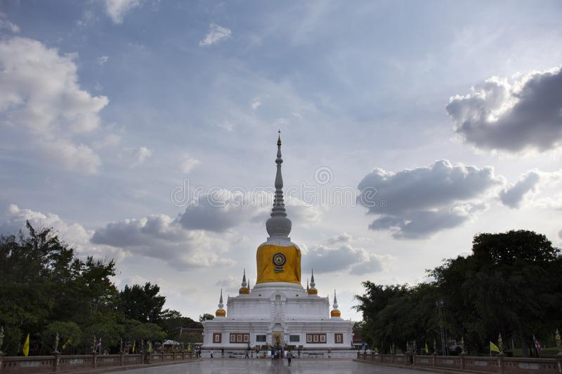 Phra That Nadoon Chedi or Na Dun Pagoda for thai people travel respect praying at Mahasarakham city in Maha Sarakham, Thailand. Phra That Nadoon Chedi or Na Dun stock photo