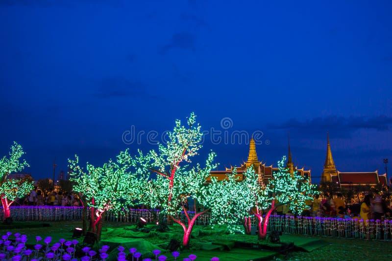 Phra Nakhon, Бангкок, Таиланд на May25,2019: Красивые украшения света СИД на земле Sanam Luang церемониальной, перед Wat Phra k стоковое фото rf