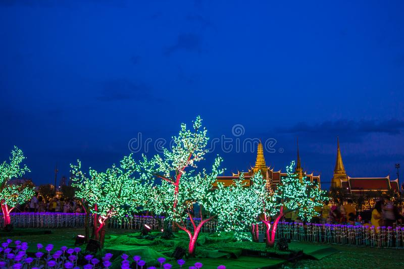 Phra Nakhon,Bangkok,Thailand on May25,2019:Beautiful LED light decorations at Sanam Luang ceremonial ground,in front of Wat Phra K royalty free stock photo