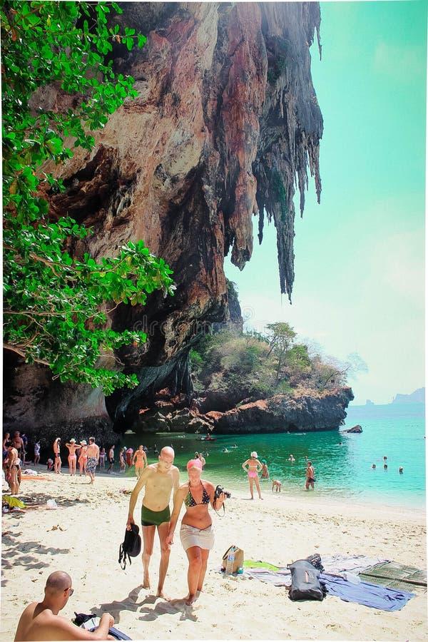 Phra nang beach in Thailand stock photography