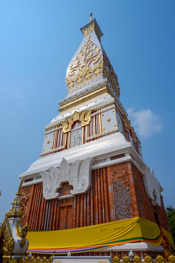 Phra That Phanom chedi this structure contains The Buddha`s breast bone, and as such, it is one of the most important  Buddhist stock images