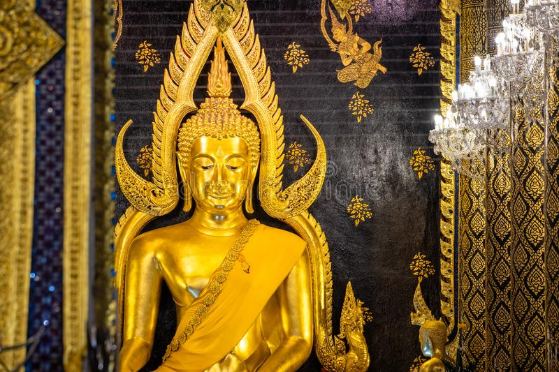 Phra Phuttha Chinnarat, Thai ancient heritage and considered as one of the most beautiful Buddha figure in Thailand, placed at Wat royalty free stock photo