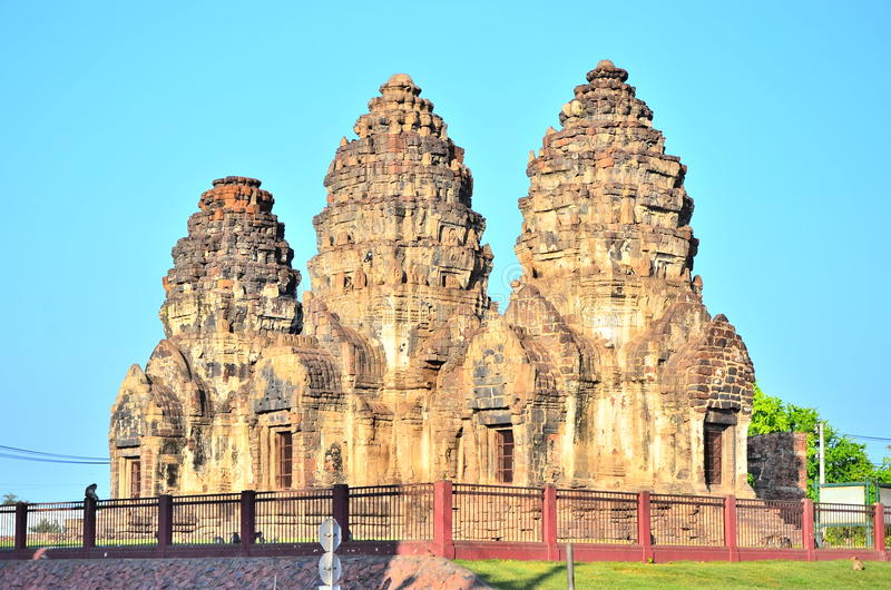 Phra Prang Sam Yot. royalty-vrije stock afbeeldingen