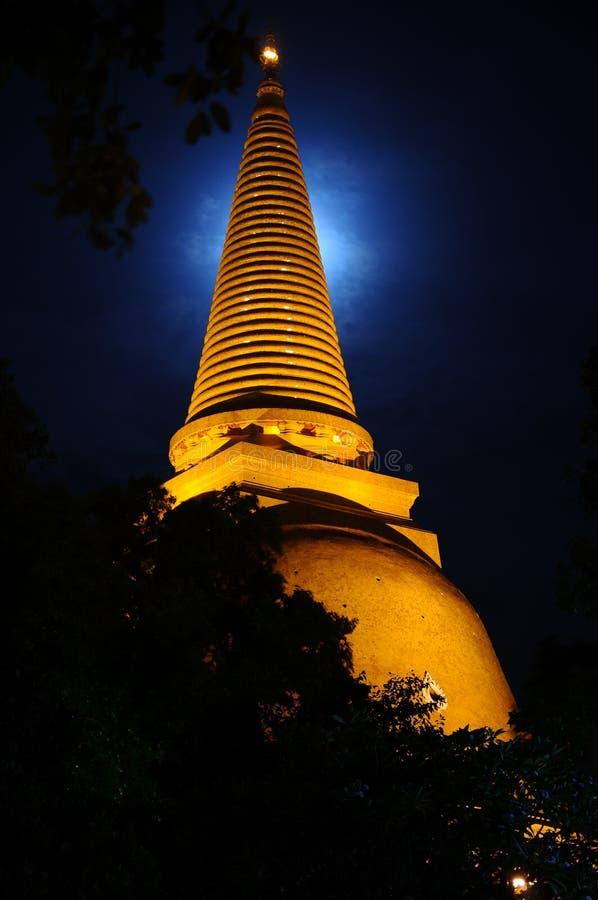 PHRA PRATHOM JEDI at night,Thailand. PHRA PRATHOM JEDI at night with the moonlight, The biggest Pagoda of Thailand royalty free stock photos