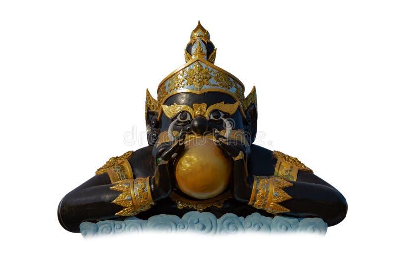 Phra Rahu w Tajlandia, Rahu mityczny ciemność na odosobnionym białym tle fotografia stock