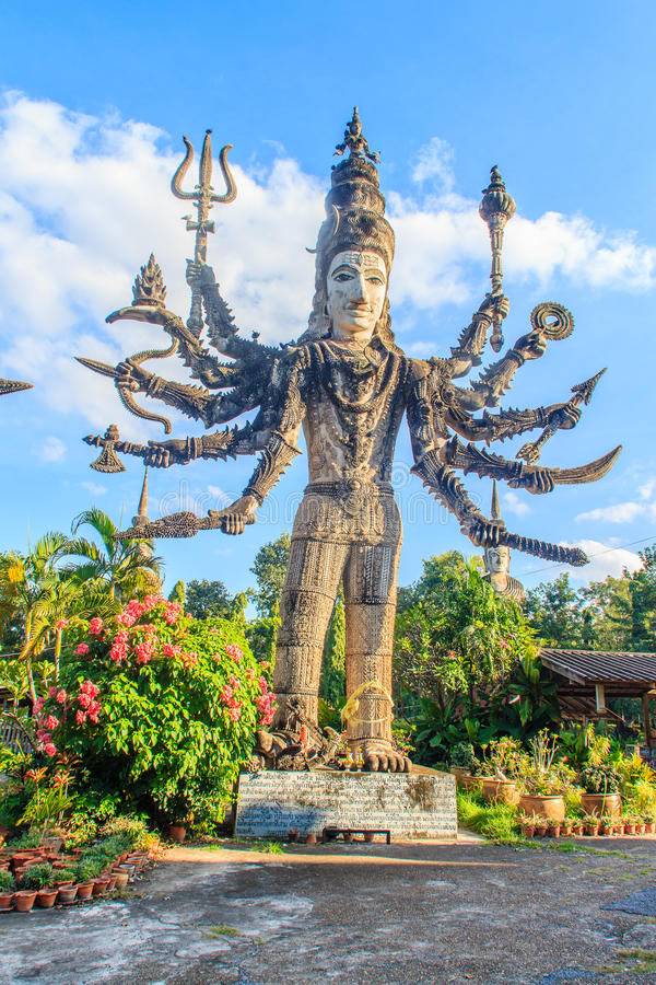 Phra Shiva at Sala Keoku, the park of giant fantastic concrete s. Sala Keoku, the park of giant fantastic concrete sculptures inspired by Buddhism and Hinduism royalty free stock photo