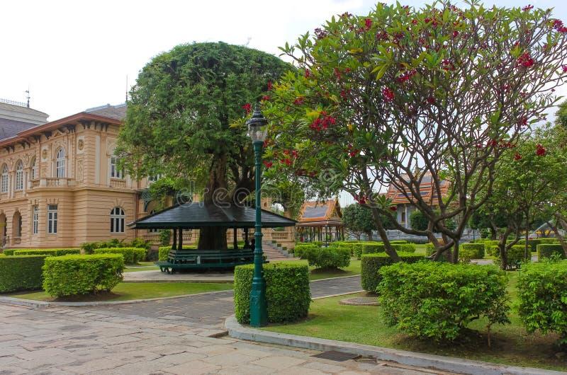 Phra Thinang Boromphiman gardens, residence of Thai kings in the Grand Palace, Bangkok stock photo