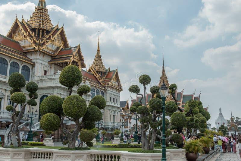 Phra Thinang Chakri玛哈Prasat,中央宫殿在盛大宫殿在曼谷,泰国,泰国皇家的家 免版税库存照片