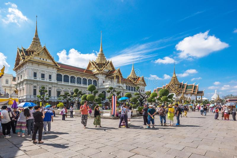 Phra Thinang Chakri Maha Prasat nel grande palazzo, Bangkok, Tailandia immagini stock