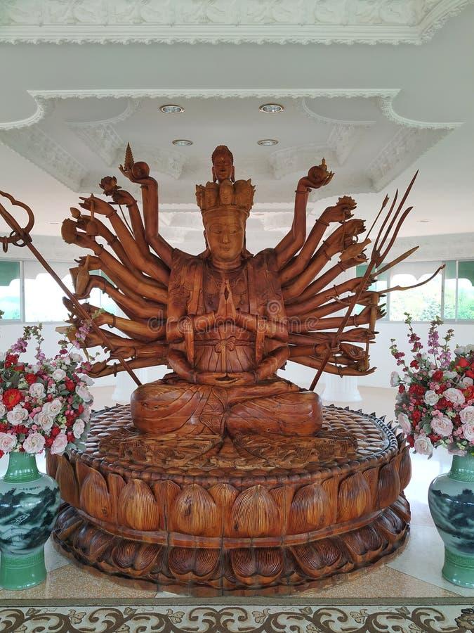 Phra U-lai carved on wood. Priest royalty free stock image