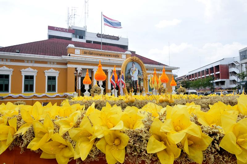 Phrarachawang metro police. BANGKOK, THAILAND – 8 MAY 2019 : Decorate the flower arch In front of the phrarachawang metro police. From May 29 – 31 stock image